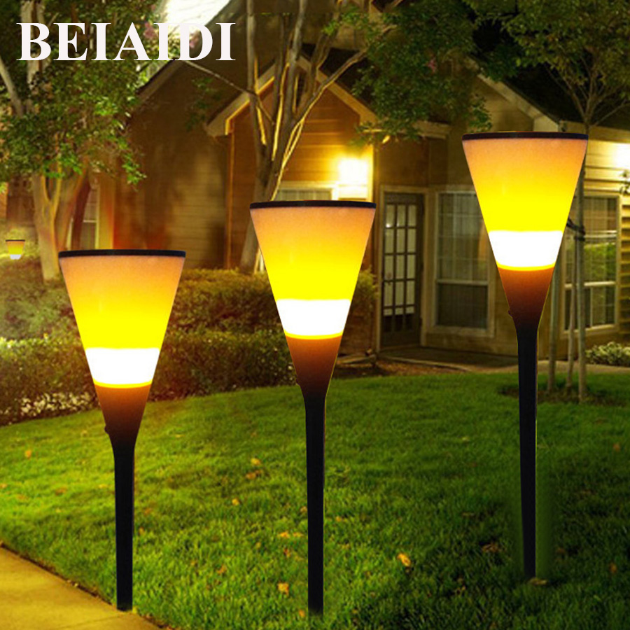 BEIAIDI 2pcs Waterproof Solar Flickering Flames Torches Lights 96 LED Outdoor Solar Powered Path Lights Dancing