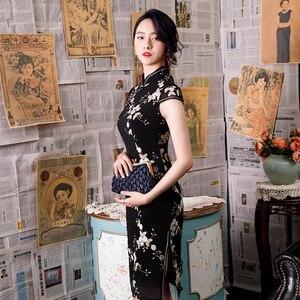 Image 1 - 黒ノベルティ刺繍レース膝丈 Silm レディースチャイナドレス中国風のステージショーエレガントな古典袍 M 3XL
