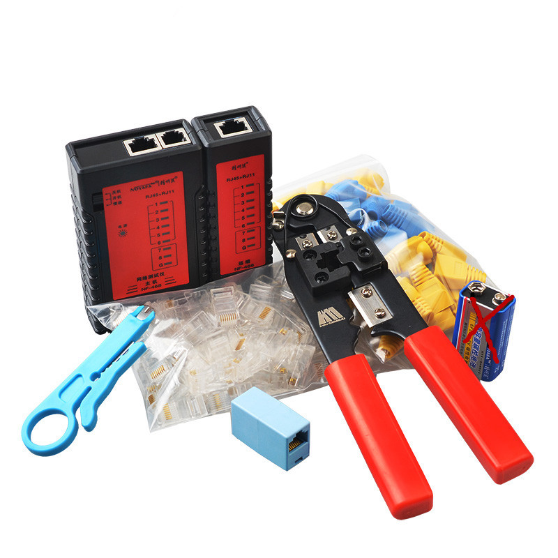 NF-468SET RJ45 USB LAN Network Tool Kit Cable Tester Crimp Crimper Plug Pliers Free  Shipping wlxy 11 in 1 telecommunications maintenance diagnostic tools set ns 468 cable tester 3 way crimper tool cable stripper