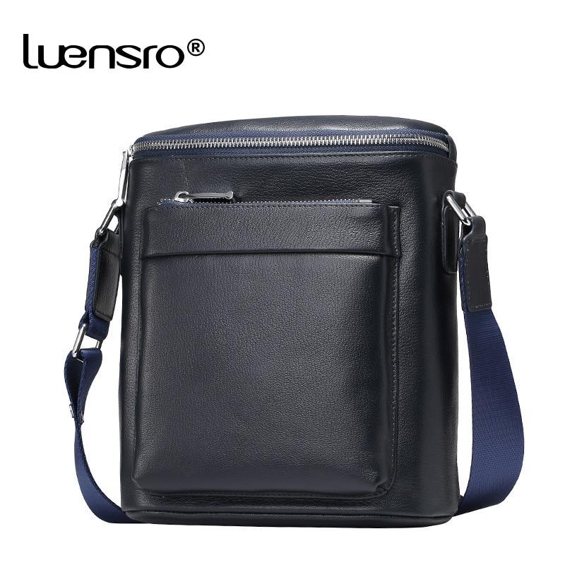 LUENSRO Brand 100 Genuine Leather Men s Crossbody Bag Casual Business Leather Mens Messenger Bag Vintage