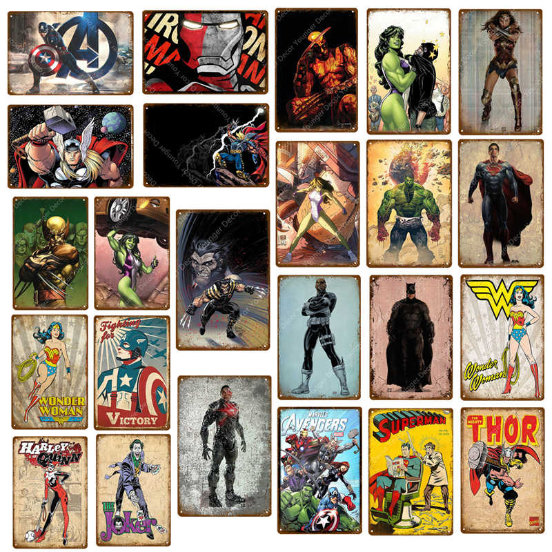 The Avengers Marvel Comics Thor Hulk Captain Superman Wonder Woman Superheroes Poster Metal Signs Plaque Wall Art Home Decor