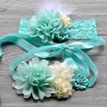 5 set/lote Rendas Romper Prop Hortelã verde Caixilhos Sash Cintos Lace Headbands Bebê Menina