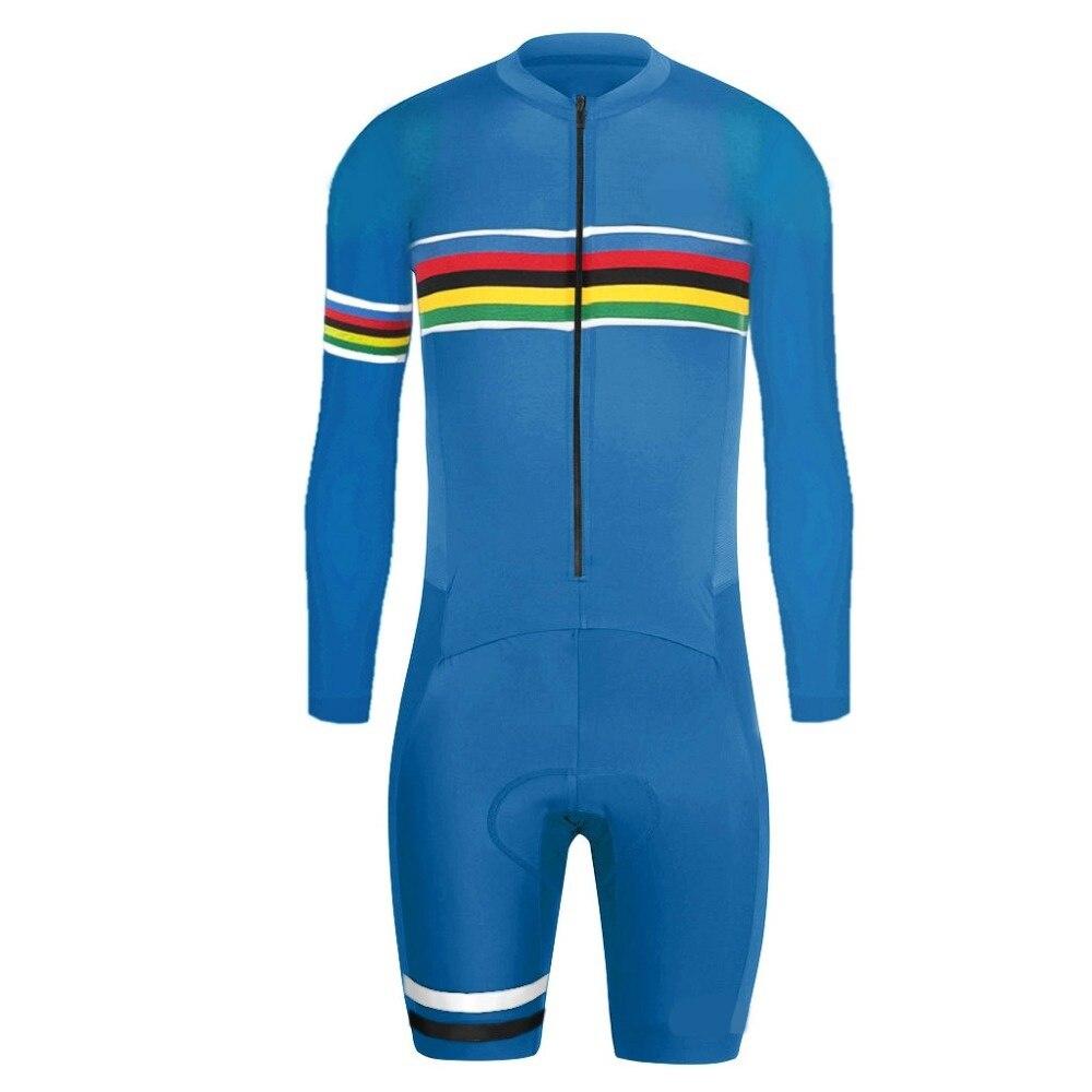 6 couleurs cyclisme Skinsuit hommes Triathlon manches longues Speedsuit cyclisme vêtements Ropa Ciclismo Maillot actif Trisuit combinaison