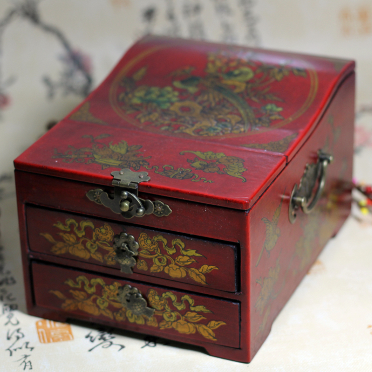 Chinese antique Toilet case wooden storage box Wedding gift royal