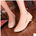 Women new fashion spring summer cute female round toe flat heel solid color PU rustic shoes large plus size 40-47