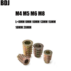 50Pcs M4 M5 M6 M8 Zinc Alloy Thread For Wood Insert Nut Flanged Hex Drive Head Furniture Nuts Inner six angle screws