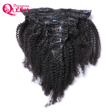 Brazylijski Afro Kinky Curly Clip In Human Hair Extensions 7 sztuk / zestaw Klipy w 4B 4C Wzór Dreaming Queen Machine Made Remy Hair