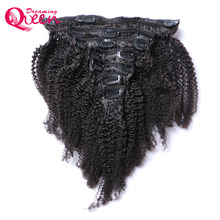 Brazilian Afro Kinky Curly Clip In Human Hair Extensions 7 Pcs/Set Clips In 4B 4C Pattern Dreaming Queen Remy Hair Products
