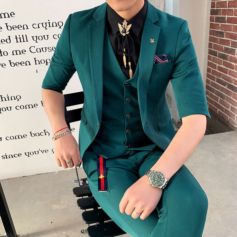 Green Suits Mens Slim Fit Suits Pink New Tuxedo 2019 Red Terno Smoking Men's Suits Elegant White Wedding Dinner Dress 3 Pcs