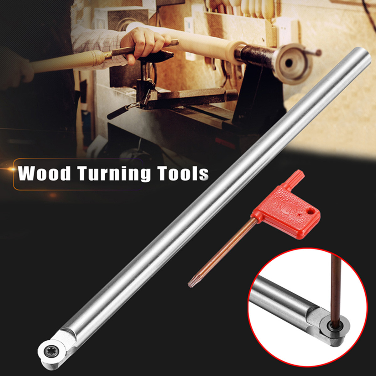 25cm R6 Round Wooden Turning Tool Chisel Alloy Carbide Tip Bit Lathe Tool Set with 1Pcs T15 Wrench 5pcs set new 3 8 tip carbide indexable turning tool set mayitr good hardness precision insert lathe tool bit