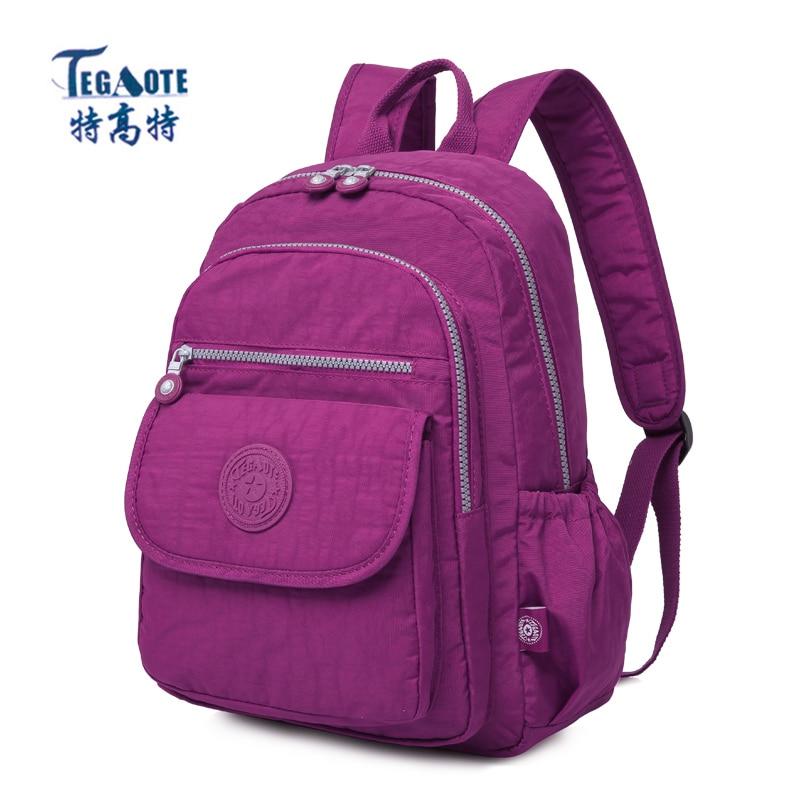 TEGAOTE Small Backpack Nylon Kipled Mini Teenage Girls for Mochila Escolar Casual Women