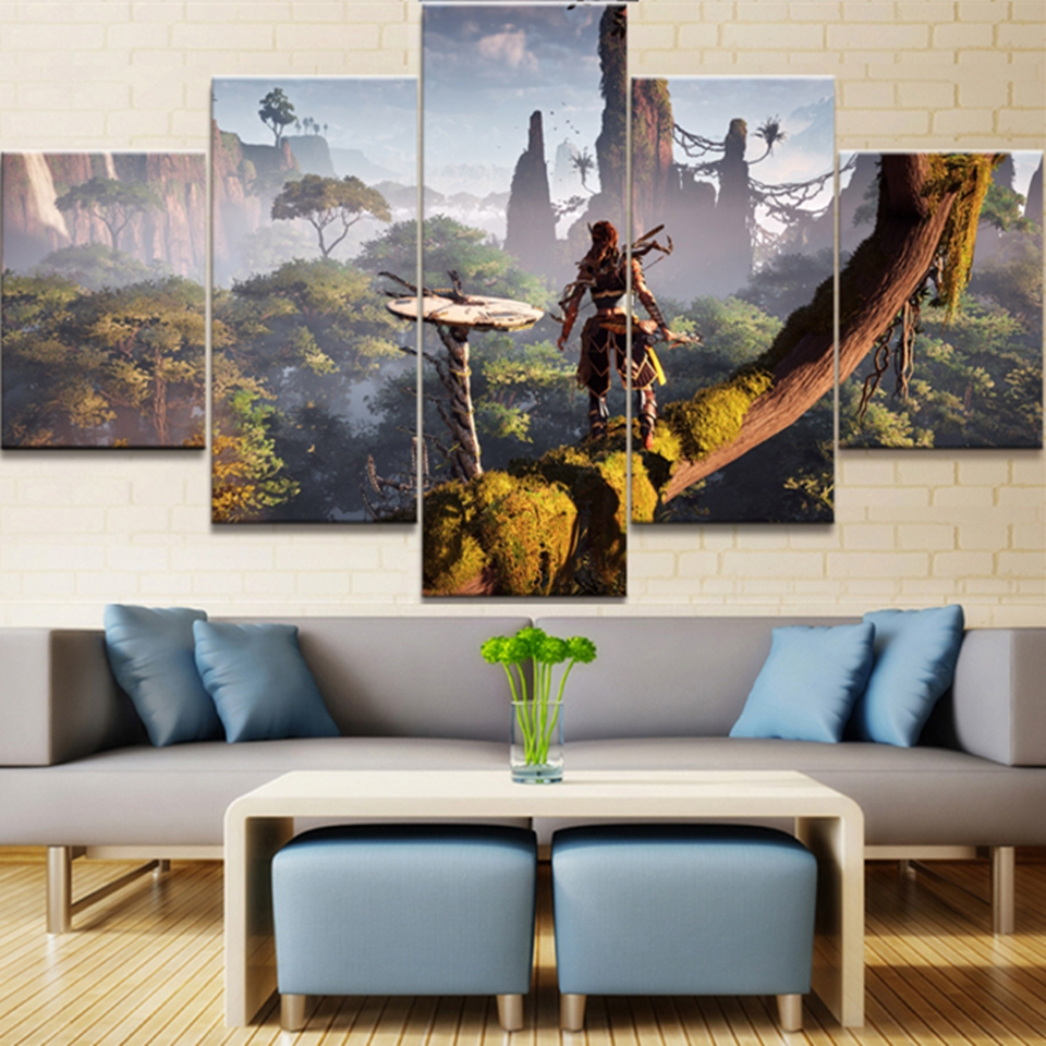 HD Print 5 Piece Canvas Painting Horizon Zero Dawn Game For Living Room Posters And