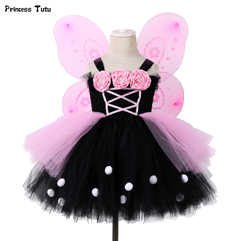 Black&Pink Flower Girl Tutu Dress Tulle Girl Party Dress Princess Kids Girls Fairy Dress Halloween Cosplay Butterfly Costume children girl tutu dress super hero girl halloween costume kids summer tutu dress party photography girl clothing