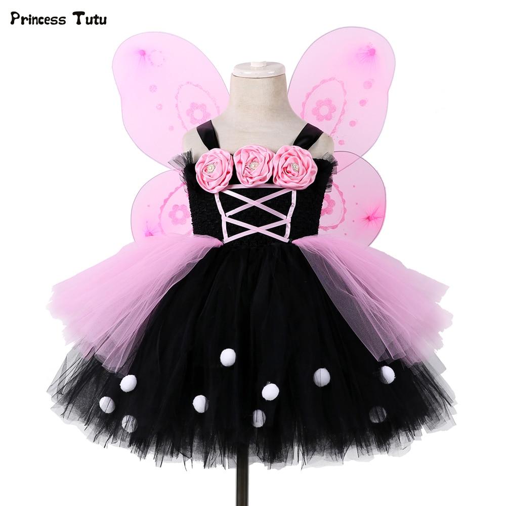 Black&Pink Flower Girl Tutu Dress Tulle Girl Party Dress Princess Kids Girls Fairy Dress Halloween Cosplay Butterfly Costume tinker bell fairy kids girl halloween party costume dress wings set 2 8year c247