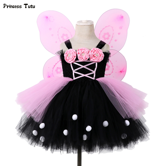 69a5f5df30e Black Pink Flower Girl Tutu Dress Tulle Girl Party Dress Princess Kids Girls  Fairy Dress Halloween Cosplay Butterfly Costume