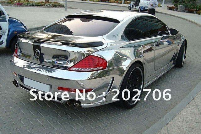 Guaranteed 100% High quality1.52X30M,(air free bubbles) Silver Chrome Polished Vinyl Sign Film Color Changing Film
