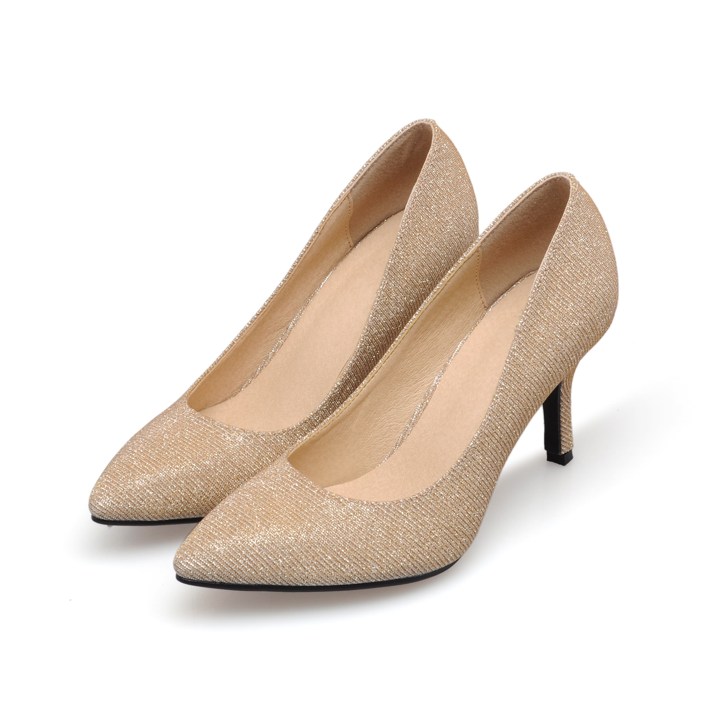 Plus Size 2017 New Spring Classic Women Pumps Fashion High Heel Gold Office Wedding Casual Pointed Toe Shoes Woman SMYBK-50 new hot spring summer high quality fashion trend simple classic solid pleated flats casual pointed toe women office boat shoes