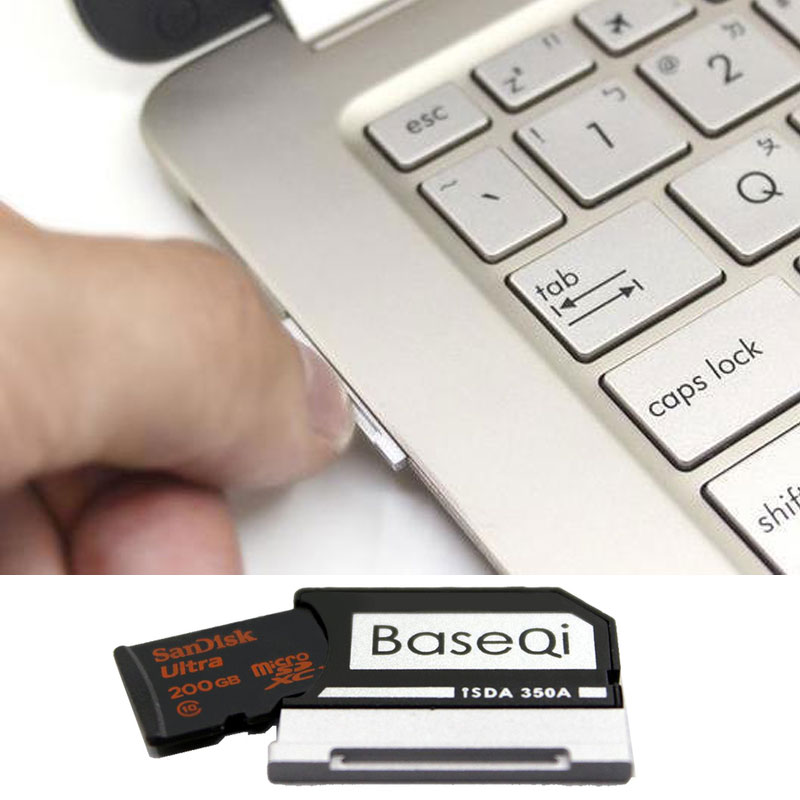 Image 5 - Original Baseqi Aluminum MiniDrive MicroSD Card Adapter For Surface book Lenovo Yoga Dell XPS&Asus Zenbook Flip Laptop 13.5 inch-in Memory Card Adapters from Computer & Office