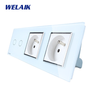 WELAIK 3 Frame Crystal Glass Panel White Black Wall Switch France Touch Switch Wall Socket 2gang1way