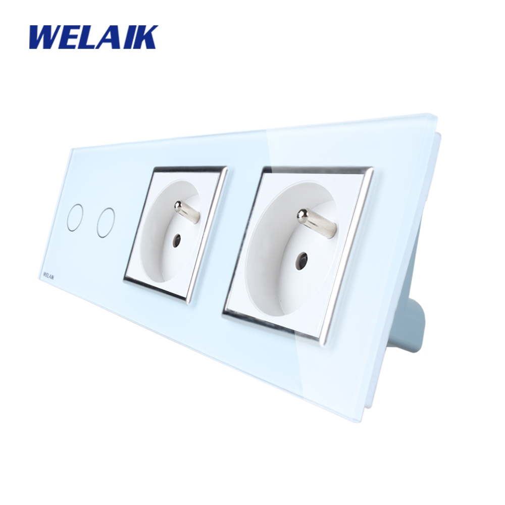 WELAIK 3Frame Crystal Glass Panel   Wall Switch France Touch Switch  France Wall  Socket 2gang1way AC110~250V A39218F8FCW/B smart home us au wall touch switch white crystal glass panel 1 gang 1 way power light wall touch switch used for led waterproof