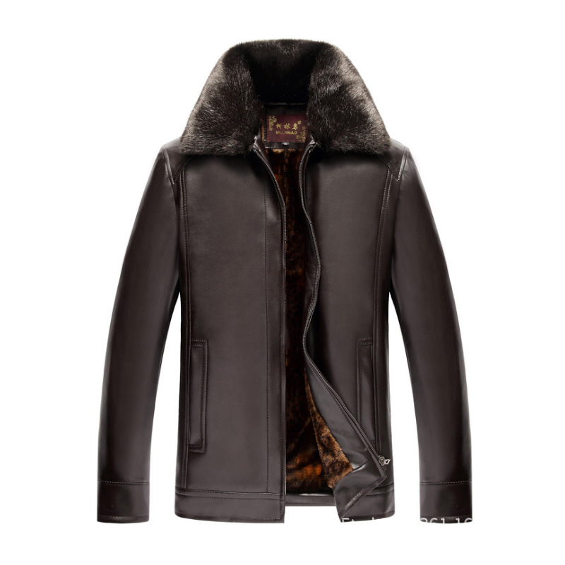 Black leather jacket men Thick liner PU Suede faux fur collar Male leather jackets coats Outerwear 2018 Winter