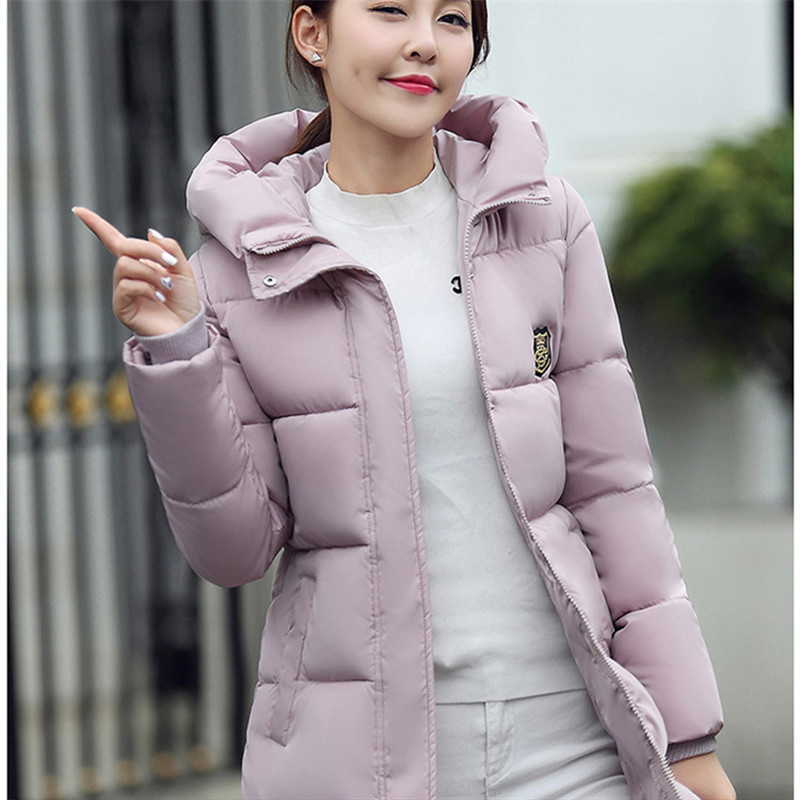 2016 women winter coats down cotton full sleeve single breasted button pockets feathers casual slim coat