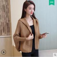 Short design batwing sleeve sweater outerwear autumn 2019 women's loose with a hood cardigan female