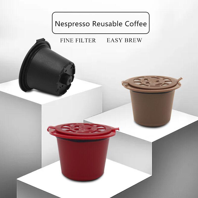 3pcs reusable coffee capsules spoon brush set black mini powder basket nespresso machine home. Black Bedroom Furniture Sets. Home Design Ideas