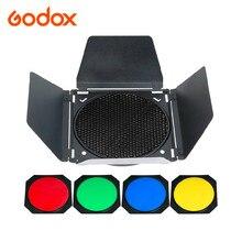 Godox BD 04 納屋ドア + ハニカムグリッド + 4 色フィルターキットのためのフォトスタジオフラッシュ