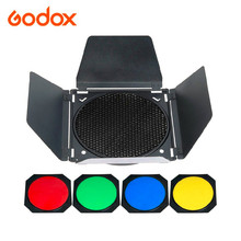 Godox BD 04 Barn Door + Honeycomb Grid + 4 Color filter Kits for Photo Studio Flash