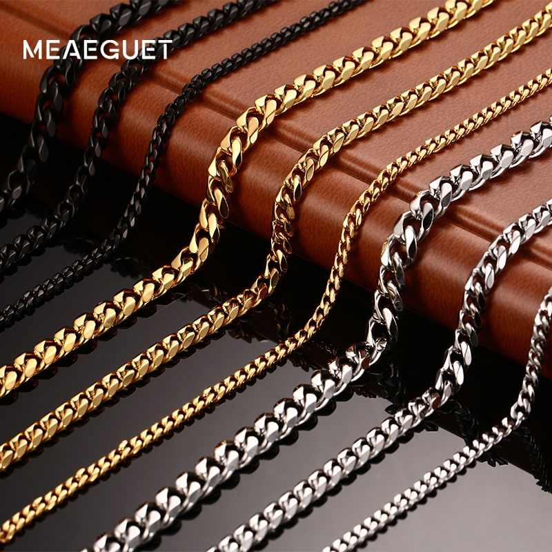 Meaeguet Fashion Stainless Steel 24/30inch Long Chains Necklaces For Men 3mm/5mm/7mm Wide Gold-Color Necklace Chain Jewelry