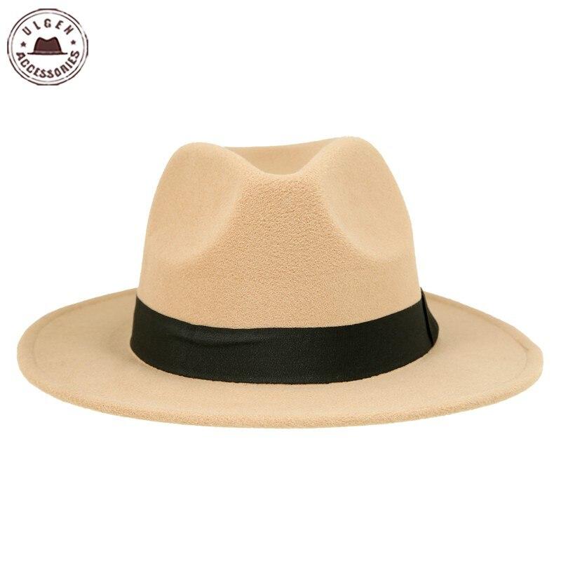 Vintage unisex Wolle Jazz Hüte große Krempe Filz Cloche Cowboy - Bekleidungszubehör - Foto 3