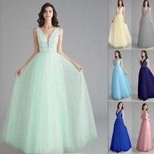 Sexy V neck Evening Dresses long Tulle Prom Dress 2020 Formal party Gowns sequins A line Open Back Vestido De Noiva