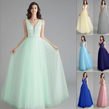 Sexy V-neck Evening Dresses long Tulle Prom Dress 2020 Formal party Gowns sequins A-line Open Back Vestido De Noiva sexy evening dress 2019 v neck beads open back a line long evening dresses party vestido de festatulle prom gowns