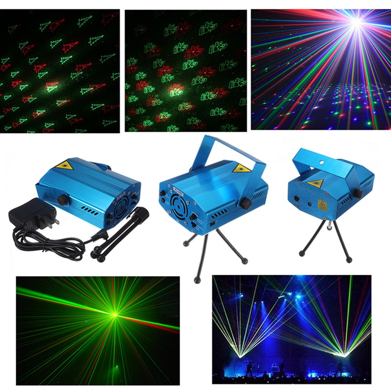 R&G Laser Mini Voice Control LED Stage Lights LED Stage Lighting Effect Projector New Year Decor Disco Club DJ Lamp Lights rg mini 3 lens 24 patterns led laser projector stage lighting effect 3w blue for dj disco party club laser