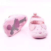 Cute Baby Girls First Walkers Grey Pink Cartoon Mouse Soft With Pattern Shading Soft Sole Baby