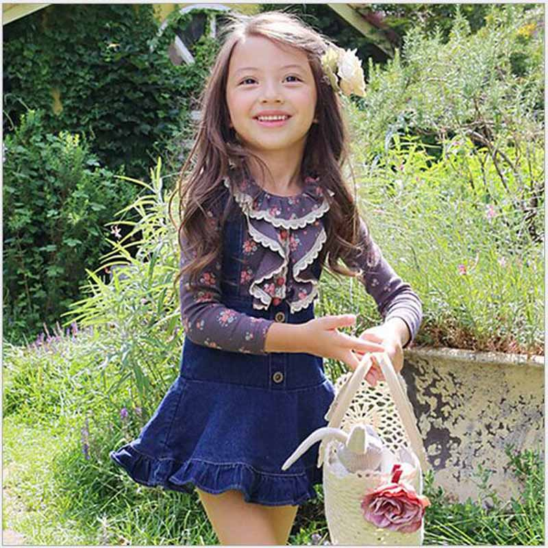 Finest Baby girls clothing sets kids Floral Lace Long Sleeve T shirts  PS29