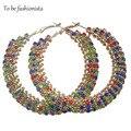 Para ser una moda mujeres Multicolor Crystal Hoop Pendientes Pusety E10010 Gota de Joyería de Moda Pendientes de Aro de oro para el Regalo