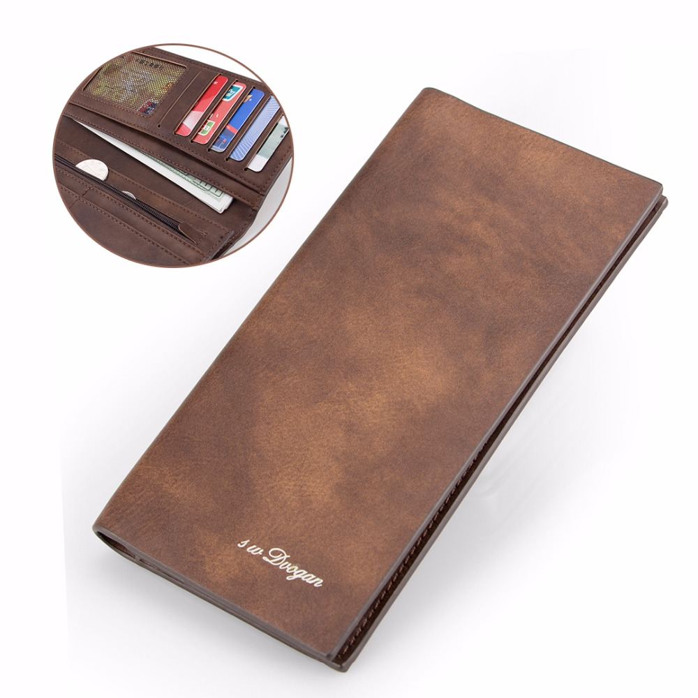 Vintage Brown Leather Wallet Classic Bifold Wallet Men Long Wallet Zipper Purse inside Card Holder Minimalist Mans Gift Wallet
