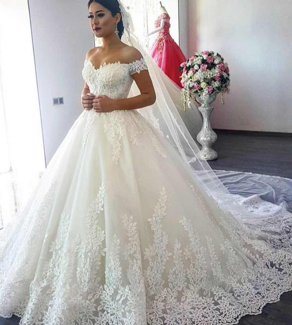 2295943249f Vestido de Noiva 2019 Princess Wedding Dresses Off Shoulder Applique Lace  Sweetheart Puffy Ball Gown Bridal