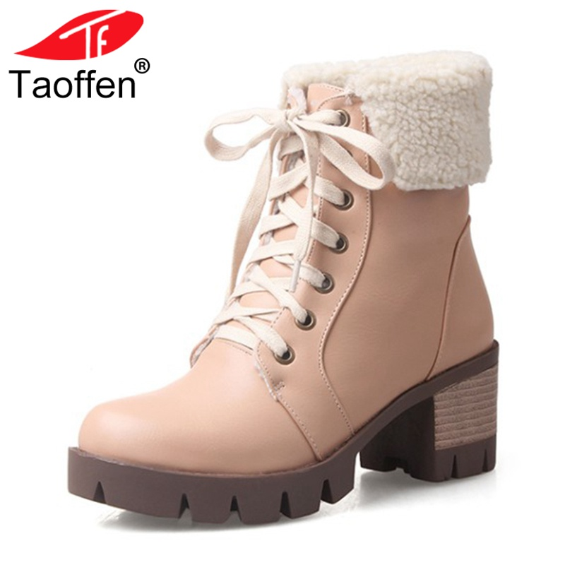 все цены на TAOFFEN Fashion Women Square Heel Ankle Boots Woman Round Toe Lace Up Martin Boot Female Vintage High Heels Shoes Size 33-43 онлайн