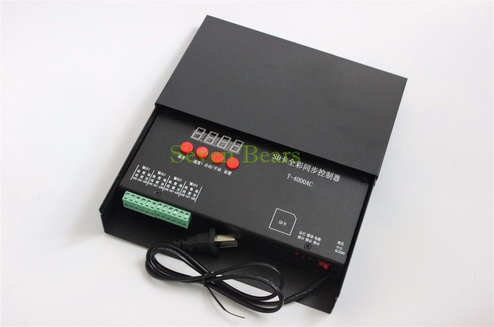 Contrôleur de carte SD T-4000AC étanche à la pluie T-4000 module de pixel led Programmable polychrome pour WS2811 WS2801 WS2812B 6803 1903 bande - 4