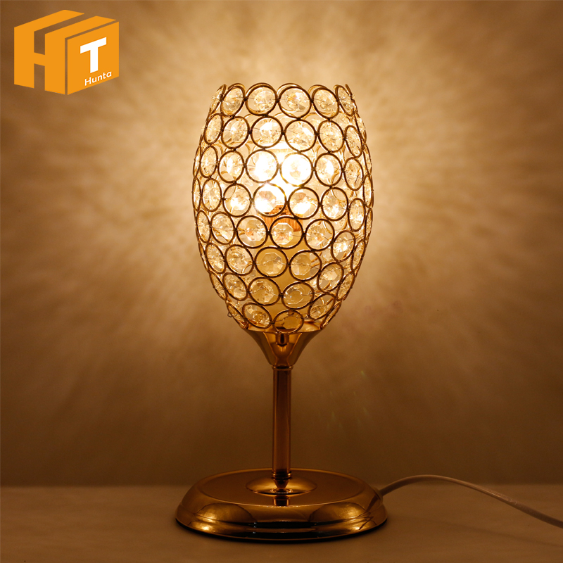Wine Glasses Crystal LED Desk Table Lamp E27 Modern Bedside Table Lamps For Bedroom Living Room Study Office Home Decor minimalist warm bedroom beside k9 crystal table lamps luxury living room study desk lamps modern clear gray crystal table lamp