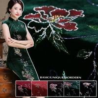 Один позиционирования длина 195 см бронзовая шелковый бархат шелковой ткани для платья стекались ткани платье Ципао бархатной ткани