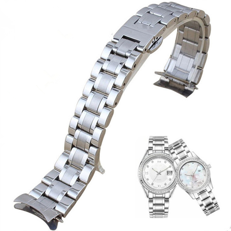 TJP Luxury Brands 19mm 20mm 21mm Stainless Steel Watchband Curved End Strap for Longine Master s