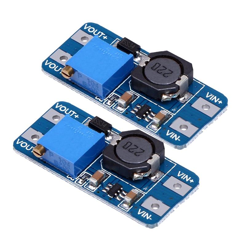 2pcs MT3608 DC-DC adjustable step-up power converter module for Arduino & More