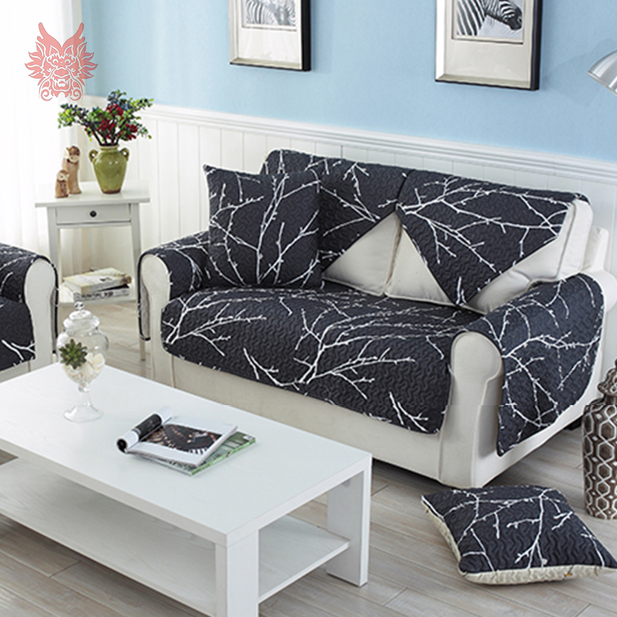 Modern Style White Black Printed Sofa Cover Quilting Slipcovers Cotton  Furniture Sectional Couch Covers SP3390 FREE
