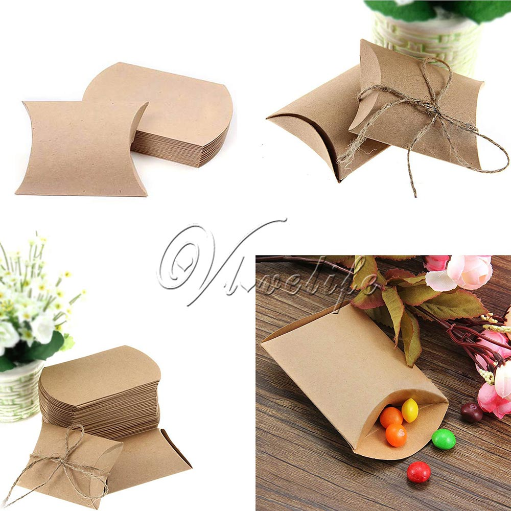 100pcs Cute Kraft Paper Pillow Favor Gift Box Wedding Party Favour ...