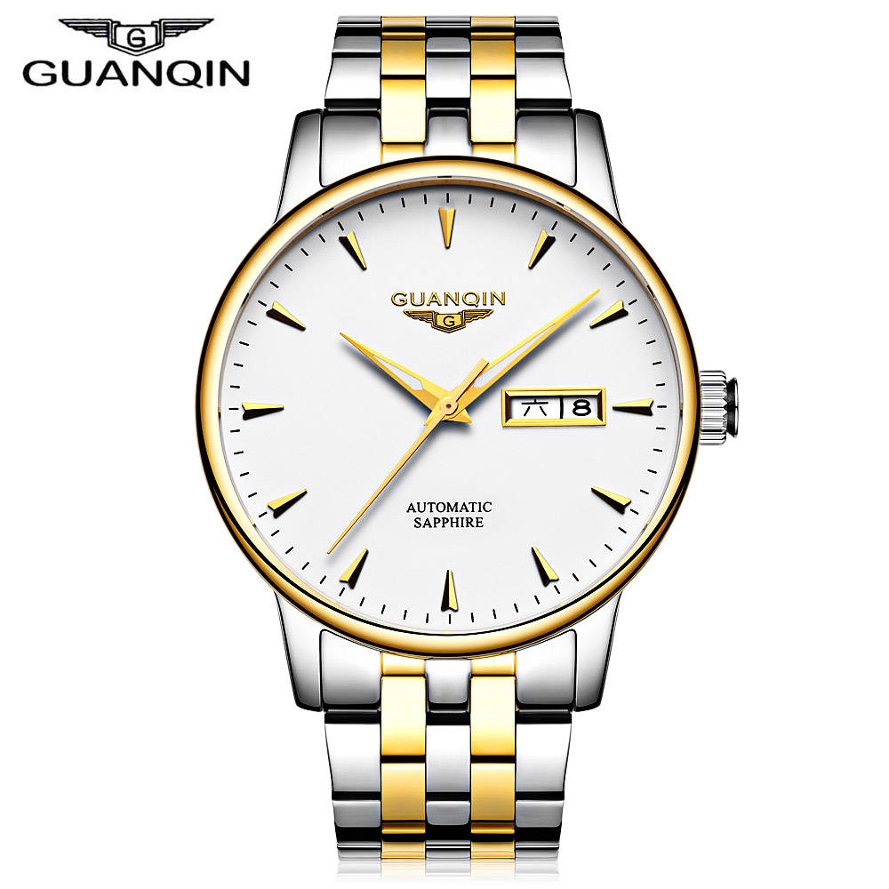GUANQIN Men Mechanical Watch Date Day Display Stainless Steel Band Automatic Self wind Watches Casual Analog Wristwatch