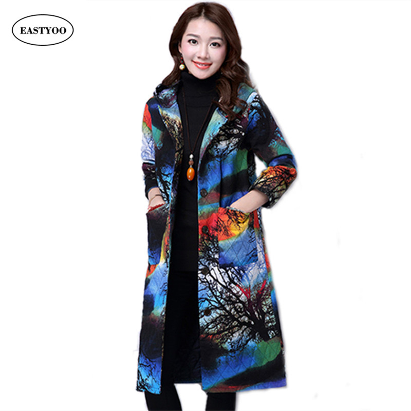 Hooded Trench Coats Women Winter 2016 Linen Trench Coats Long Maxi Coats Hoody Plus Size Overcoat Female Ethnic Clothing